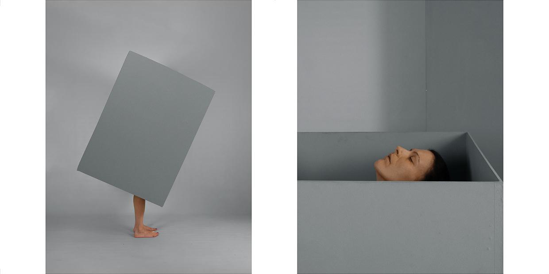 Photographie de Michel Rey - Diptyque d'un corps de femme nue dans une boite