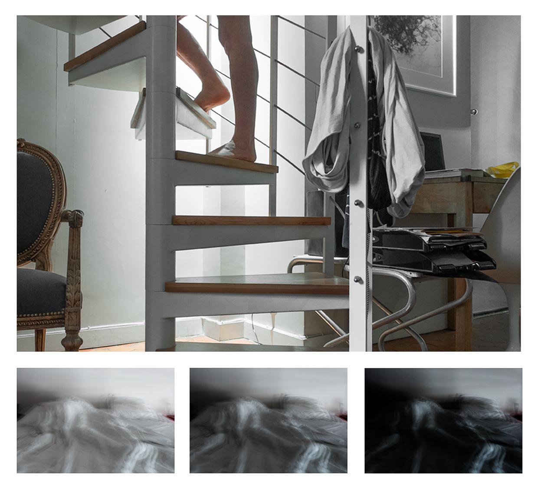 """Photographie de Michel Rey construite en quadriptyque. dénomée """"vie quotidienne"""" Les 3 photographies du bas représentent un lit avec une personne sous les draps. Les 3 photographies sont en couleur dégardée. La photographie du haut est disposée sur la même largeur que les 3 autres endessous. Elle représente les jambes d'une femme que montent les excaliers d'une mezzanine."""