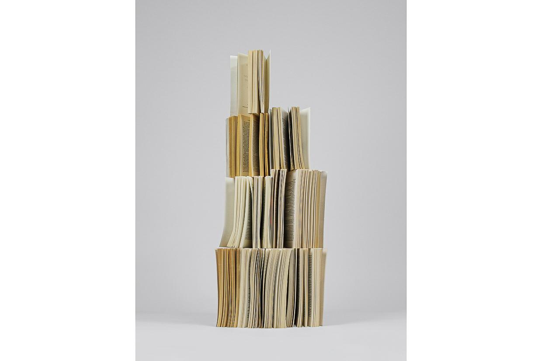 Photographie de Michel Rey prise de face Elle représente 9 livres usagés, jaunis et entrouverts. Ils sont agencés en équilibre instable, les feuilles entrouvertes et répartis verticalement les uns sur les autres.