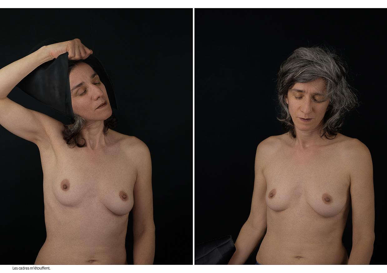 Photographie de Michel Rey - Diptyque. La première image représente une femme de face, mi-nue, les yeux fermés et une main enlevant sa coiffe noire. La deuxième image représente la même femme face, mi-nue, les yeux fermés et le bras en bas avec à la main sa coiffe noire. Intitulé de la photo : Les cadres m'étouffent.